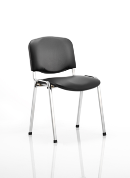 Office Chair Company Iso Stacking Chair Black Vinyl Chrome Frame Without Arms Min Order Qty X 4