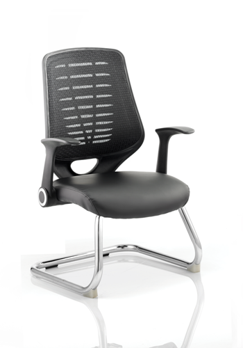 Picture Of Office Chair Company Relay Visitor Cantilever Leather Seat Black  Back With Arms
