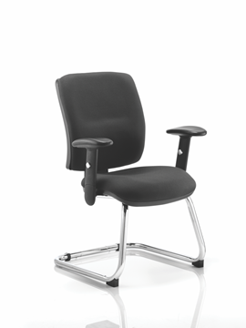 Picture of Office Chair Company Chiro Visitor Cantilever Chair Black With Arms