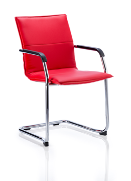 Picture of Office Chair Company Echo Visitor Cantilever Chair Red Bonded Leather With Arms
