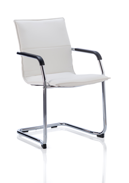 Picture of Office Chair Company Echo Visitor Cantilever Chair White Bonded Leather With Arms