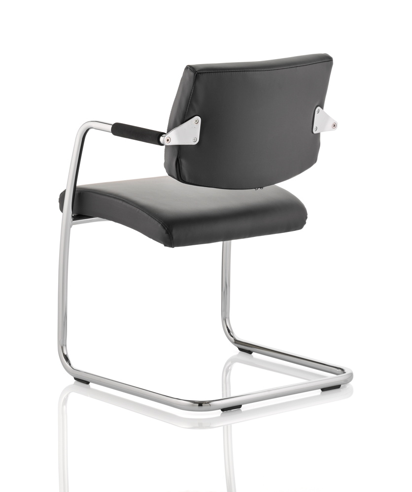 Office Chair Companies: Havanna Visitor Chair Black Leather With Arms