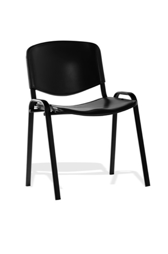 Picture of Office Chair Company ISO Stacking Chair Black Poly Black Frame Without Arms (Min Order Qty X 4)