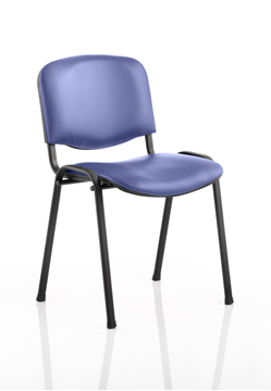 Picture of Office Chair Company ISO Stacking Chair Blue Vinyl Black Frame Without Arms (Min Order Qty X 4)