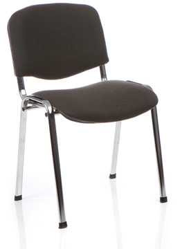 Picture of Office Chair Company ISO Stacking Chair Charcoal Fabric Chrome Frame Without Arms (Min Order Qty X 4)