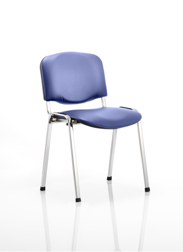 Picture of Office Chair Company ISO Stacking Chair Blue Vinyl Chrome Frame Without Arms (Min Order Qty X 4)