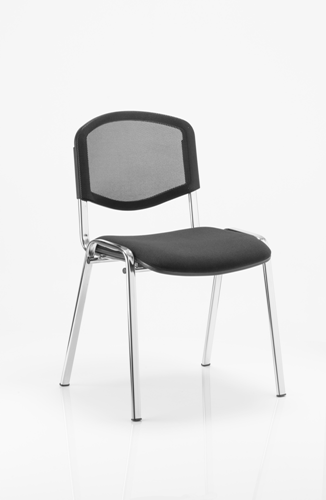 Minimum Order: 4 ISO Visitor Chair Black Mesh Chrome Frame Without Arms