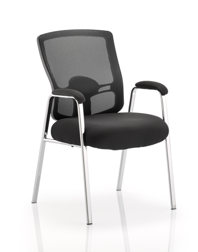 Picture of Office Chair Company Portland Visitor Straight Leg Black Fabric Black Mesh Back With Arms