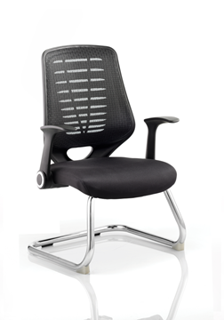 Picture of Office Chair Company Relay Visitor Cantilever Airmesh Seat Black Back With Arms