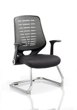 Picture of Office Chair Company Relay Visitor Cantilever Airmesh Seat Silver Back With Arms