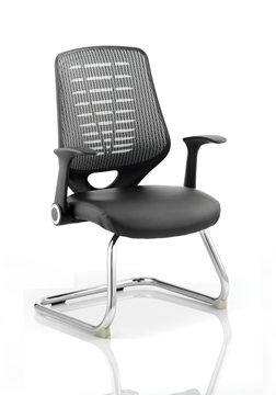 Picture of Office Chair Company Relay Visitor Cantilever Leather Seat Silver Back With Arms