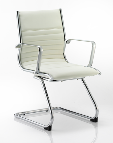 Picture of Office Chair Company Ritz Visitor Cantilever Chair Ivory Bonded Leather With Arms