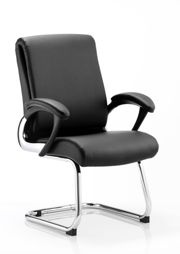 Picture of Office Chair Company Romeo Visitor Cantilever Chair Black Leather With Arms