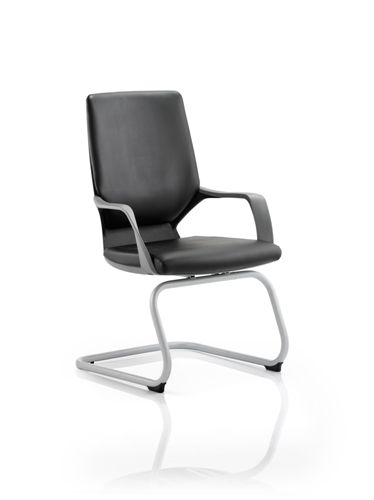 Picture of Office Chair Company Xenon Visitor Cantilever Black Chair Black Leather With Arms