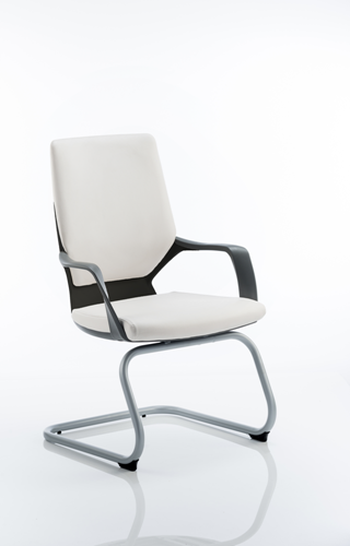 Picture of Office Chair Company Xenon Visitor Cantilever Black Chair White Leather With Arms
