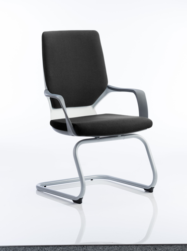 Picture of Office Chair Company Xenon Visitor Cantilever White Chair Black Fabric With Arms