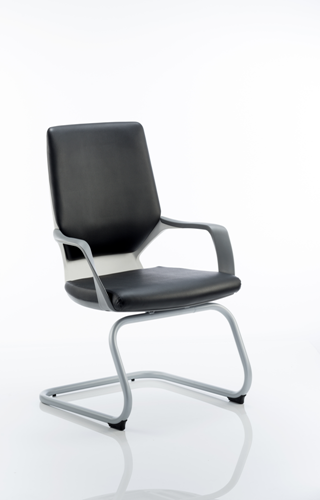 Picture of Office Chair Company Xenon Visitor Cantilever White Chair Black Leather With Arms