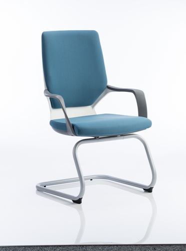 Picture of Office Chair Company Xenon Visitor Cantilever White Chair Blue Fabric With Arms