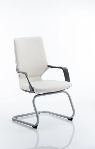 Picture of Office Chair Company Xenon Visitor Cantilever White Chair White Leather With Arms