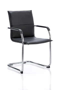 Picture of Office Chair Company Echo Visitor Cantilever Chair Black Bonded Leather With Arms