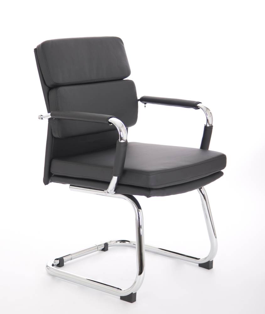 Office Chair Companies: Advocate Visitor Chair Black Bonded Leather With Arms