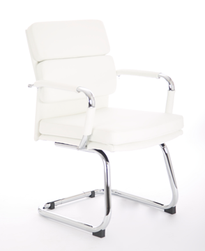 Picture of Office Chair Company Advocate Visitor Chair White Bonded Leather With Arms