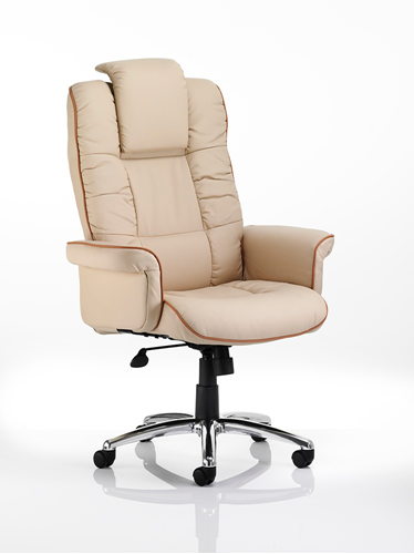 Picture of Office Chair Company Chelsea Executive Chair Cream Bonded Leather With Arms
