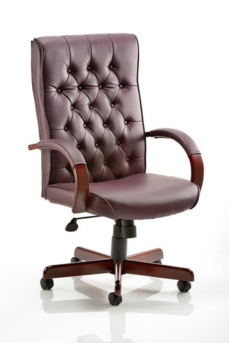 Picture of Office Chair Company Chesterfield Executive Chair Burgundy Leather With Arms