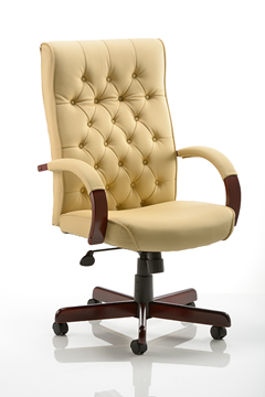 Picture of Office Chair Company Chesterfield Executive Chair Cream Leather With Arms