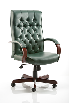 Picture of Office Chair Company Chesterfield Executive Chair Green Leather With Arms