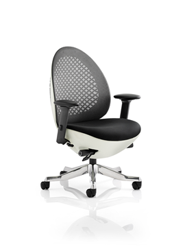 Picture of Office Chair Company Revo Task Operator Chair White Shell Charcoal Mesh With Arms