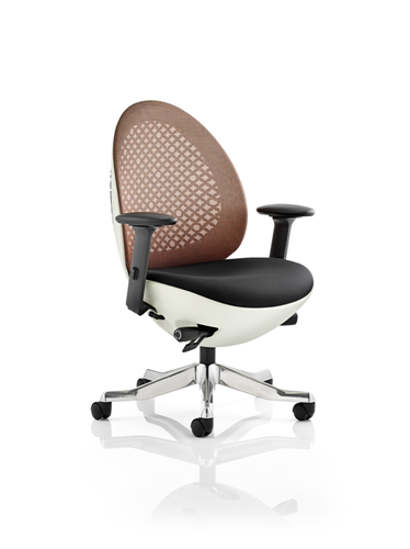 Picture of Office Chair Company Revo Task Operator Chair White Shell Mandarin Mesh With Arms