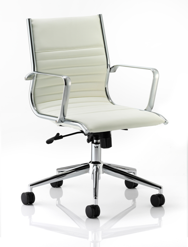 Picture of Office Chair Company Ritz Executive Chair Ivory Bonded Leather Medium Back With Arms