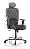 Picture of Office Chair Company Victor Executive Chair Black Leather Black Mesh With Arms