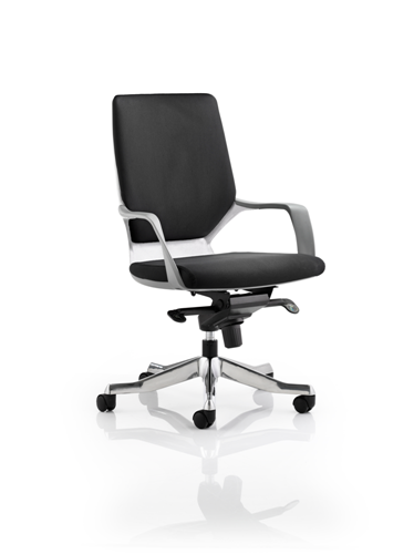 Picture of Office Chair Company Xenon Executive White Chair Black Fabric Medium Back With Arms