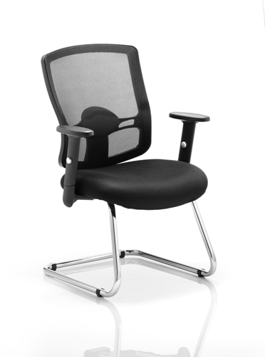 Picture of Office Chair Company Portland Visitor Cantilever Chair Black Mesh With Arms