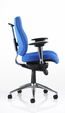 Picture of Office Chair Company Chiro Task Operators Chair Blue With Height Adjustable And Folding Arms High Back