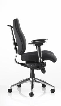 Picture of Office Chair Company Chiro Task Operators Chair Black With Height Adjustable And Folding Arms Medium Back
