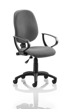 Picture of Office Chair Company Eclipse I Lever Task Operator Chair Charcoal With Loop Arms