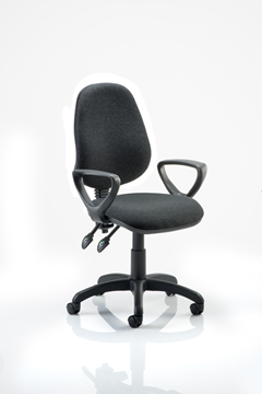 Picture of Office Chair Company Eclipse II Lever Task Operator Chair Charcoal With Loop Arms