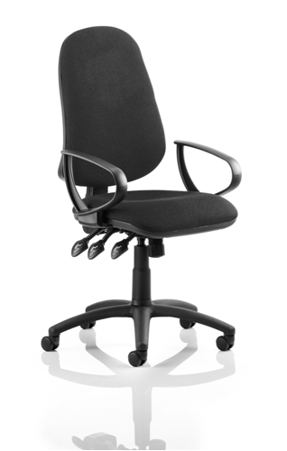 Picture of Office Chair Company Eclipse XL III Lever Task Operator Chair Black With Loop Arms