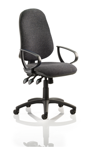 Picture of Office Chair Company Eclipse XL III Lever Task Operator Chair Charcoal With Loop Arms