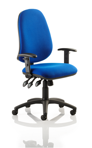 Picture of Office Chair Company Eclipse XL III Lever Task Operator Chair Blue With Height Adjustable Arms