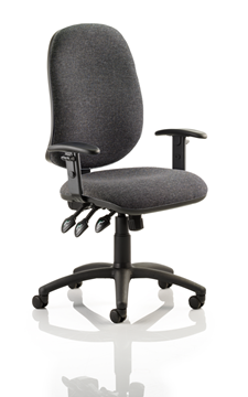 Picture of Office Chair Company Eclipse XL III Lever Task Operator Chair Charcoal With Height Adjustable Arms