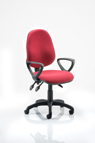 Picture of Office Chair Company Eclipse III Lever Task Operator Chair Wine With Loop Arms