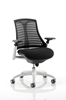 Picture of Office Chair Company Flex Task Operator Chair White Frame Black Fabric Seat With Black Back With Arms