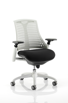 Picture of Office Chair Company Flex Task Operator Chair White Frame Black Fabric Seat With Moonstone White Back With Arms