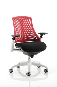 Picture of Office Chair Company Flex Task Operator Chair White Frame Black Fabric Seat With Red Back With Arms