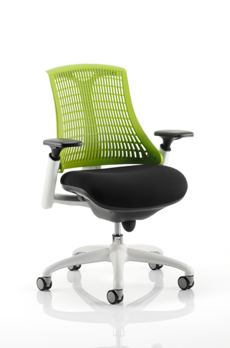 Picture of Office Chair Company Flex Task Operator Chair White Frame Black Fabric Seat With Green Back With Arms