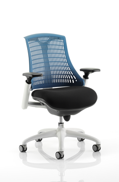 Picture of Office Chair Company Flex Task Operator Chair White Frame Black Fabric Seat With Blue Back With Arms